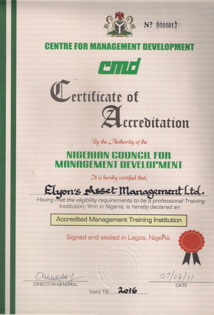 CMD Accreditation Certificate